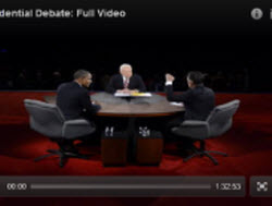 Image of the candidates and moderator during the debate on October 22, 2012.
