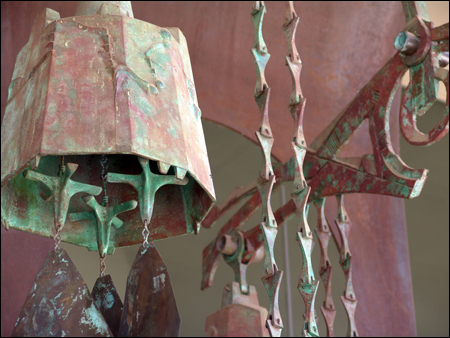 Soleri bell sculpture at LMC entrance