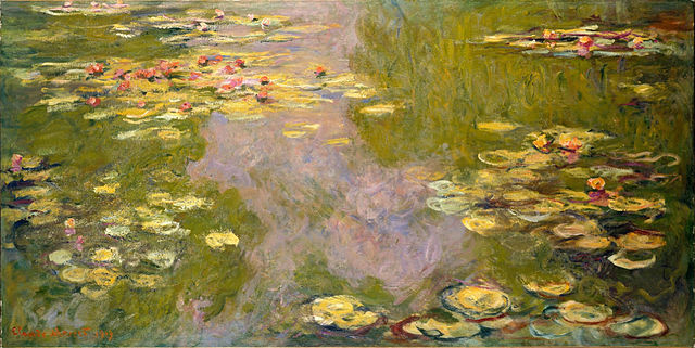 Monet's Waterlilies, Photo found at: https://en.wikipedia.org/wiki/Claude_Monet#/media/File:WLA_metmuseum_Water_Lilies_by_Claude_Monet.jpg