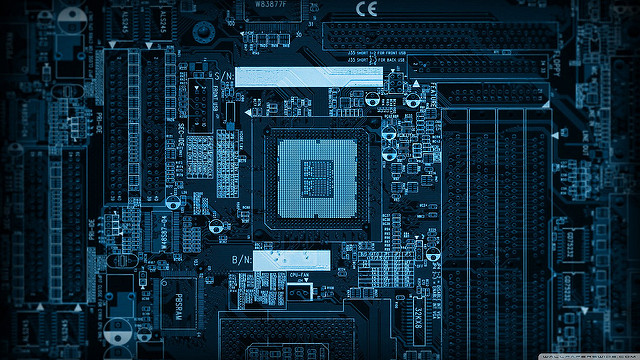 Image of Computer Motherboard.  Image by Andrzej Cybulski, found on Flickr (CC BY-NC 2.0)