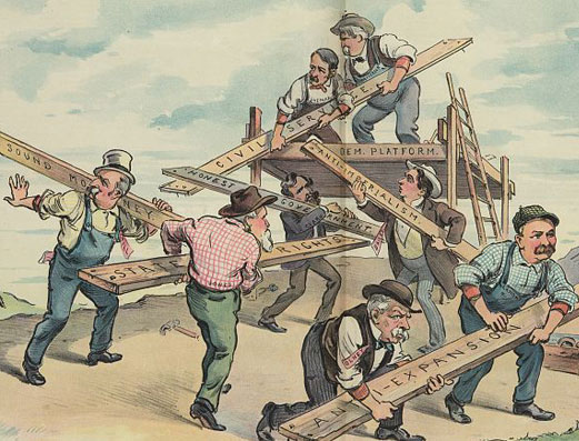 Cartoon drawing of people carrying planks to build a platform.