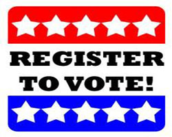 Register to Vote! icon with white stars on red, white, and blue field.