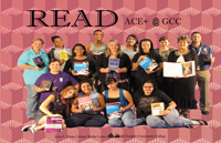 Photo of ACE Plus students holding books for READ poster.