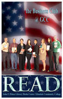 Photo of the Arizona Business and Leadership Club at GCC with books for READ poster.