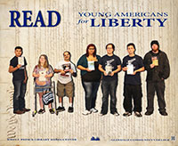 Young Americans for Liberty holding books of thier interest.