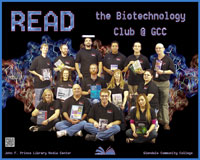 Biotechnology Club holding books of thier interest.