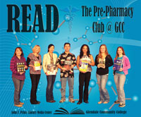 Pre-Pharmacy Club holding books of thier interest.